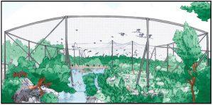 Illustration du projet de la grande volière d'immersion à la Réserve Africaine de Sigean
