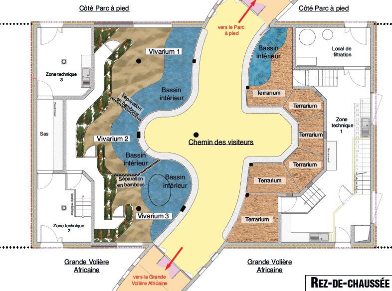 Plan du nouveau vivarium à la Réserve Africaine de Sigean